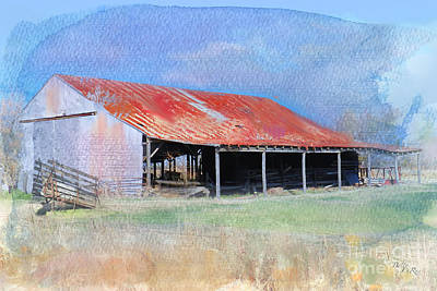 Digital Watercolor Photograph - The Old Tin Barn by Betty LaRue