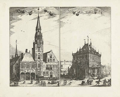The Old Town Hall In Amsterdam And The Waag The Netherlands Art Print