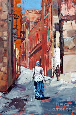 Figure Painting - The Old Town Sardinia Italy by Claire McCall