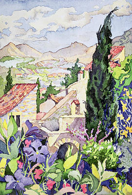 Mountain Valley Painting - The Old Town Vaison by Julia Gibson