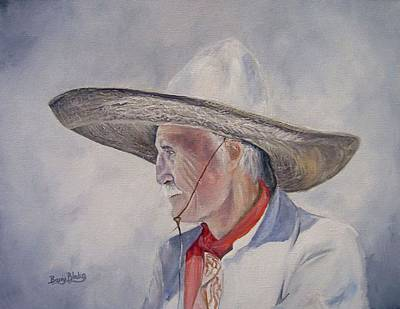 Vaquero Painting - The Old Vaquero by Barry BLAKE