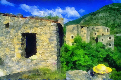 Mixed Media - The Old Village And The Yellow Hat by Enrico Pelos