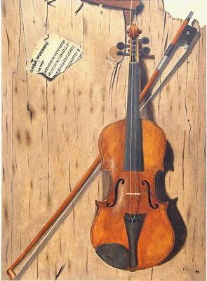 Old Sheet Music Painting - The Old Violin by Lee Bianco