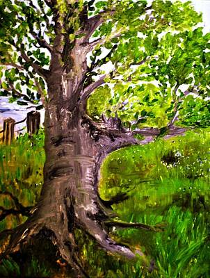 Tree Roots Painting - The Old Walnut by Evelina Popilian