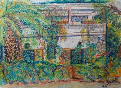 Drawing - The Old White House In Talpiot Jerusalem by Esther Newman-Cohen