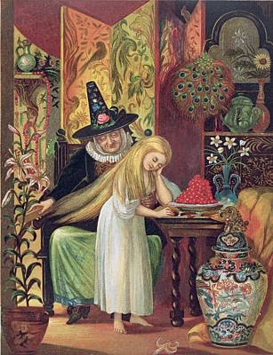 Lily Drawing - The Old Witch Combing Gerdas Hair by Lorens Frolich