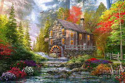 Autumn Landscape Digital Art - The Old Wood Mill by Dominic Davison