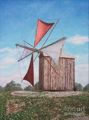 Old Mill Scenes Painting - The Old Wood Windmill by Carlos De Vasconcelos Tavares