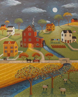 The Olde Red Mill Art Print by Mary Charles