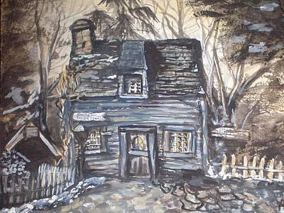 Painting - The Oldest Wooden School House by Alexandria Weaselwise Busen
