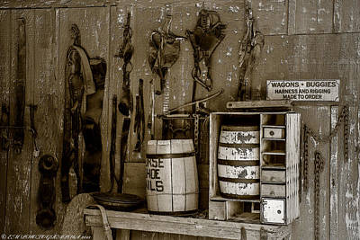 Art Print featuring the mixed media The Ole Shop by Elaine Malott