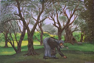 Corfu Painting - The Olive Collector by Nikiforos Kouris