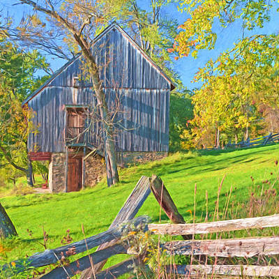 Digital Art - The Oliver Miller Homestead Barn / Side View by Digital Photographic Arts
