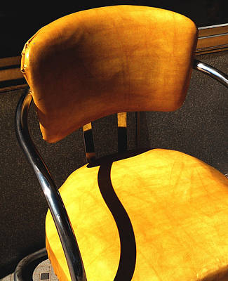 The Only One - Yellow Chair With Shadow Print by Steven Milner