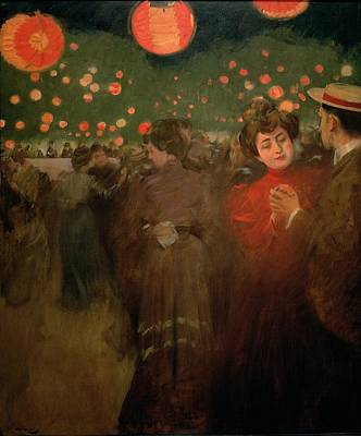 Fiesta Painting - The Open Air Party by Ramon Casas i Carbo