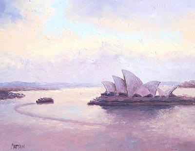 Sydney Opera House Painting - The Opera House And The Early Morning Ferry by Jan Matson
