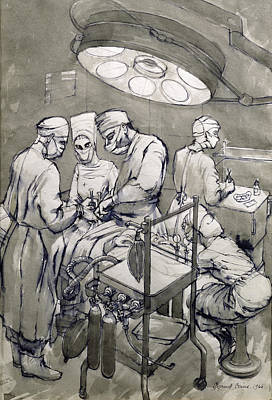 Nurse Shark Drawing - The Operation Theatre, 1966 by Osmund Caine