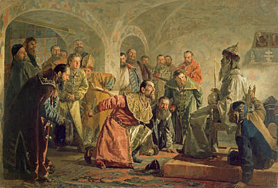 C20th Photograph - The Oprichnina At The Court Of Ivan Iv 1530-84 Oil On Canvas by Nikolai Vasilievich Nevrev