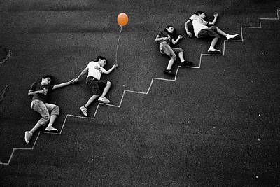 Climb Photograph - The Orange Balloon by Nicolino Sapio