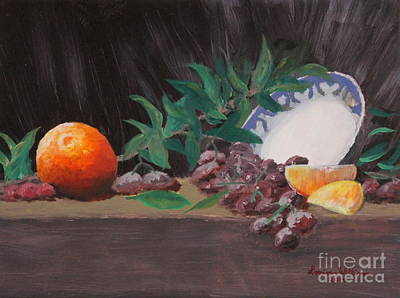 Grape Leaves Drawing - The Orange Bowl by Louise Williams