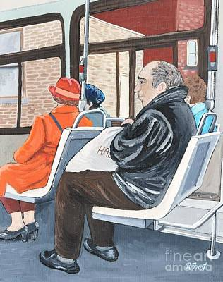 Montreal Scenes Painting - The Orange Coat On The 107 Bus by Reb Frost