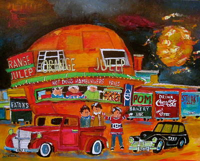 Orange Julep Painting - The Orange Julep And The 1947's by Michael Litvack