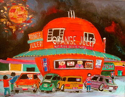 Orange Julep Painting - The Orange Julep And The Play Offs by Michael Litvack