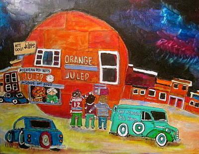 Decarie Blvd Painting - The Orange Julep Modern Tea Room by Michael Litvack