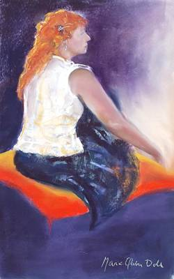 Clothed Painting - The Orange Pillow by Marie-Claire Dole