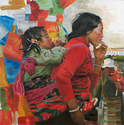 Tibet Painting - The Orange by Victoria Kharchenko
