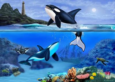 Orca Digital Art - The Orca Family by Glenn Holbrook