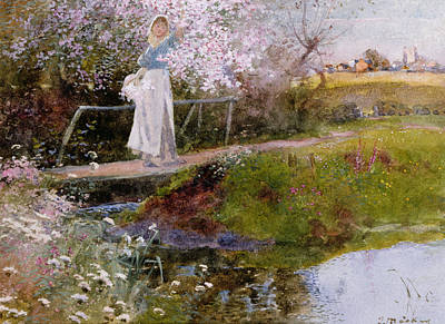 Farm Villages Painting - The Orchard Brook  by Thomas Mackay