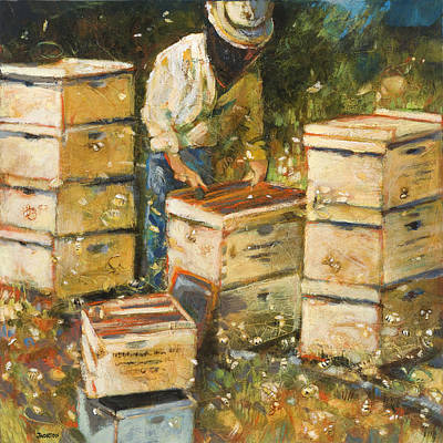 Expressionist Painting - The Organization Of Bees by Jen Norton