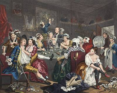 Prostitutes Drawing - The Orgy, Plate IIi From A Rakes by William Hogarth