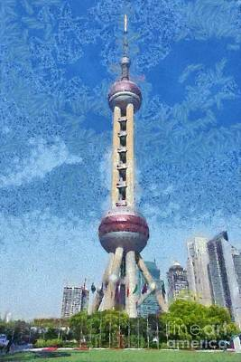 Painting - The Oriental Pearl Tower by George Atsametakis