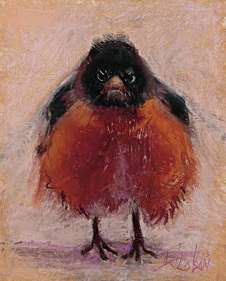 Lovers Art Painting - The Original Angry Bird by Billie Colson