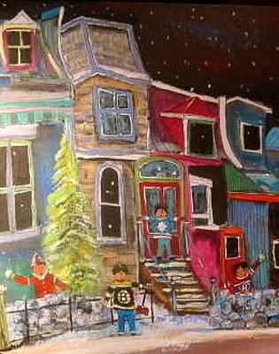 Row Houses.winter Scene Painting - The Original Three by Michael Litvack