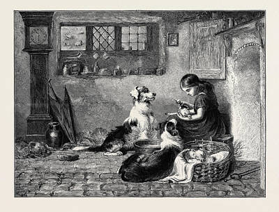 The Orphans, A Drawing In The Dudley Gallery Art Print by Riviere, Briton (1840-1920), English
