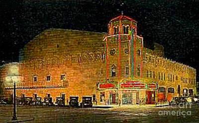 The Orpheum Theatre At Night In Phoenix Az In 1932 Art Print by Dwight Goss