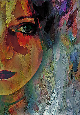 Digital Art - The Other Left Abstract Portrait by Galen Valle