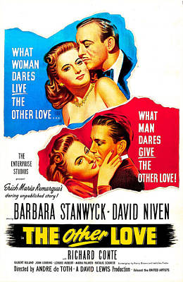 Richard Conte Photograph - The Other Love, Us Poster, Top by Everett
