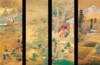On Silk Painting - The Outskirts Of Kyoto Throughout The Season by Mountain Dreams