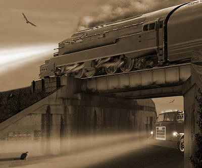 Train Digital Art - The Overpass 2 by Mike McGlothlen