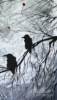 The Overseers 2 Of 2 Whimsical Crow Moon Heart Painting By Megan Duncanson Art Print by Megan Duncanson
