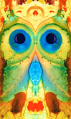 Colored Owl Painting - The Owl - Abstract Bird Art By Sharon Cummings by Sharon Cummings