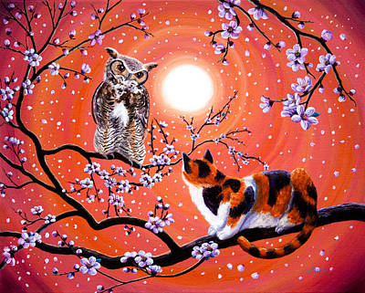 Fantasy Cats Painting - The Owl And The Pussycat In Peach Blossoms by Laura Iverson