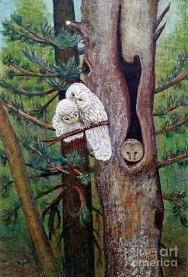 Painting - The Owl Family by Patricia  Tierney