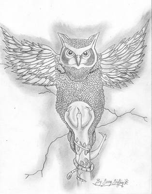 Gerald Griffin Drawing - The Owl by Gerald Griffin