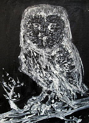 Nocturnal Animals Painting - The Owl On The Branch - Oil Portrait by Fabrizio Cassetta