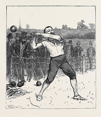 Athletic Drawing - The Oxford And Cambridge Athletic Sports Throwing The Hammer by English School